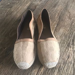 Sperry Topsider Espadrilles Tan Embroidered Flower